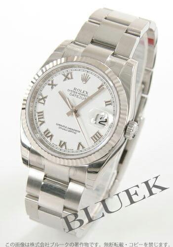 ロレックス Ref.116234 デイトジャスト WGベゼル 3連ブレス ホワイト ローマン メンズ