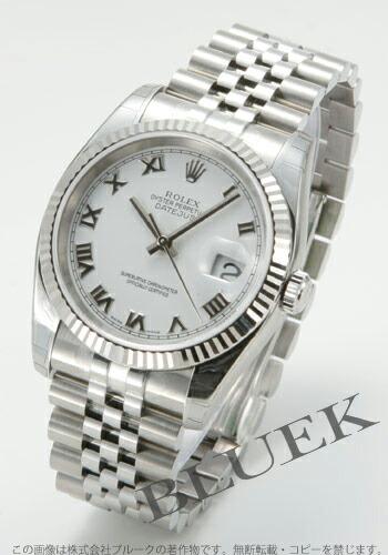ロレックス Ref.116234 デイトジャスト WGベゼル 5連ブレス ホワイト ローマン メンズ