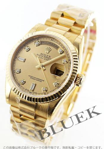 ロレックス Ref.118238G オイスターパーペチュアル デイデイト YG金無垢 ダイヤインデックス ゴールド メンズ