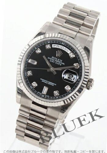 ロレックス Ref.118239 オイスターパーペチュアル デイデイト WG金無垢 ダイヤインデックス ブラック メンズ