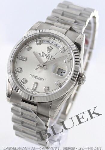 ロレックス Ref.118239 オイスターパーペチュアル デイデイト WG金無垢 ダイヤインデックス シルバー メンズ