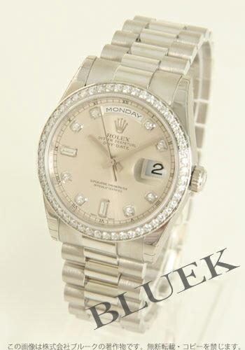 ロレックス Ref.118346 オイスターパーペチュアル デイデイト プラチナ無垢 ダイヤモンド シルバー メンズ