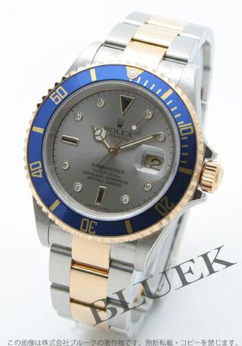 ロレックス Ref.16613SG サブマリーナ デイト ダイヤインデックス YGコンビ グレー メンズ