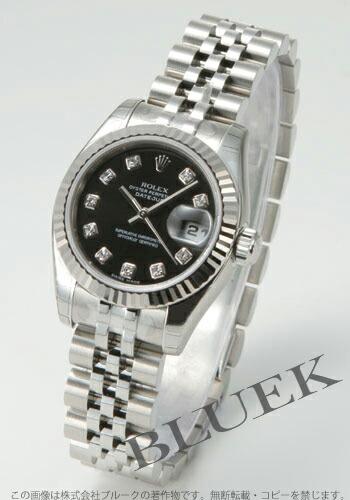 ロレックス Ref.179174G デイトジャスト ダイヤインデックス WGベゼル ブラック レディース