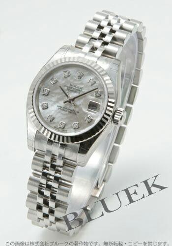 ロレックス Ref.179174NG デイトジャスト ダイヤインデックス WGベゼル ホワイトシェル レディース