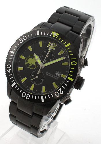 ハンティングワールド ブラック ストリーム 200m防水 ダイバーズ クロノグラフ ブラック&イエロー メンズ HW009BKYE