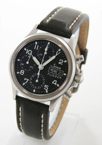 ジン 356 オートマチック クロノグラフ レザー ブラック メンズ サファイアガラス 356.FLIEGER