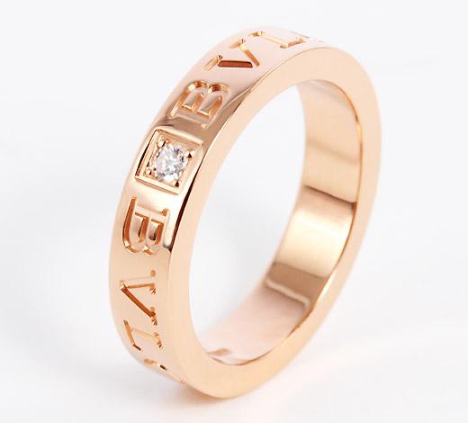 ブルガリダイヤモンドダブルロゴリング【指輪】ピンクゴールドAN854185