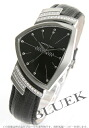 Hamilton Ventura diamond bezel leather black men H24461732