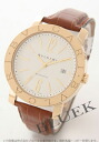 BVLGARI BVLGARI YG pure gold automatic alligator leather brown / white large BB42WGLD