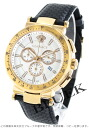 Xmas sale ★ Versace Mystic sports chronograph tachymeter leather black /RGP white men VFG070013