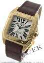 100 Cartier Santos XL YG pure gold automatic alligator leather brown / silver men W20071Y1