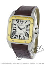 100 Xmas sale ★ Cartier Santos LM leather brown /YG silver men W20072X7