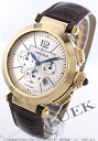 Cartier pasha XL YG pure gold automatic chronograph alligator leather brown / silver men W3020151
