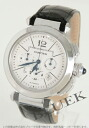 Cartier pasha 42mm automatic chronograph alligator leather black / silver men W3108555