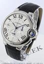 Cartier Ballon blue LM automatic chronograph with crocodile leather Black / Silver mens W6920003