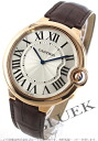 Cartier baron blue XL PG pure gold rolling by hand alligator leather brown / silver men W6920054