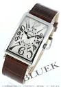 1002 Frank Muller Long Island relief black co-leather brown / silver men black needle QZ REL