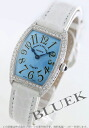 1752 two Xmas sale ★ フランクミュラートノーカーベックス WG pure gold diamond bezel leather white / light blue Lady's blue needle QZ D