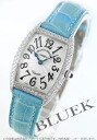1752 two フランクミュラートノーカーベックス WG pure gold diamond bezel light blue / silver Lady's blue needle QZ D