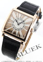 Year-end and New Year SALE ★ Frank Muller master square relief PG pure gold black co-leather black / silver Lady's 6,002L QZ REL R