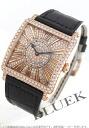6002 Frank Muller master square relief PG pure gold diamond leather black / diamond Lady's M QZ REL R