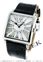 6002 Frank Muller master square relief black co-leather black / silver Lady's M QZ REL R
