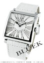 6002 Frank Muller master square relief black co-leather white / silver Lady's M QZ REL R