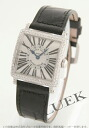 6002 Frank Muller master square WG pure gold diamond bezel black co-leather black / silver long novel Lady's S QZ
