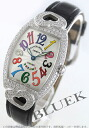 Franck Muller クゥポップ カラードリームズ WG pure gold DIA Basel crocodile leather Black / Silver ladies 7502 QZ D