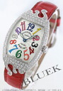 Franck Muller クゥポップ カラードリームズ WG pure gold DIA Basel crocodile leather red / silver ladies 7502 QZ D POP