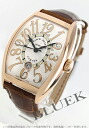 Franck Muller トノーカーベックス relief PG pure gold automatic crocodile leather Brown / silver mens 8880 SC DT REL