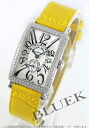 900 Frank Muller Long Island WG pure gold diamond bezel rolling by hand black co-leather yellow / silver Lady's S6 D