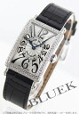 902 Frank Muller Long Island diamond bezel black co-leather black / silver Lady's QZ D