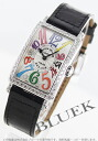 902 Frank Muller Long Island colored races Rihm's diamond bezel leather black / silver Lady's QZ COL DRM D 1R