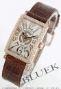 Franck Muller Long Island relief PG pure gold DIA Basel crocodile leather Brown / silver ladies 902 QZ D