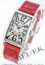 902 Xmas sale ★ Frank Muller Long Island leather red / silver Lady's QZ