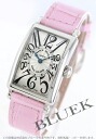 Franck Muller Long Island leather Pink / Silver ladies 902 QZ