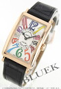 952 Frank Muller Long Island colored races Rihm's PG pure gold black co-leather black / silver Lady's QZ COL DRM