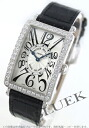 952 Xmas sale ★ Frank Muller Long Island WG pure gold diamond bezel black co-leather black / silver Lady's QZ DP