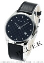 Gucci YA126 G thymeless slim diamond index leather black men YA126305