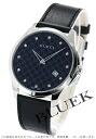 Gucci YA126 G thymeless slim diamond index leather black men YA126305