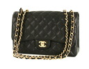 Chanel CHANEL caviar skin shoulder bag black & gold A28600