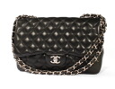 CHANEL CHANEL matelasse line lambskin shoulder bag black & silver A28600