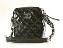 Chanel CHANEL matelasse line shoulder bag black enamel & Black A33790