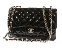 CHANEL CHANEL matelasse line enamel shoulder bag pearl black & silver A28600