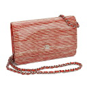 Chanel CHANEL enamel shoulder bag Orange & white A33814