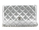 CHANEL CHANEL classical music lambskin shoulder bag silver A33814