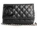CHANEL CHANEL Cambon line shoulder bag black & shocking pink A46646