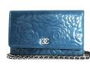 CHANEL camellia enamel shoulder bag blue & silver A47421